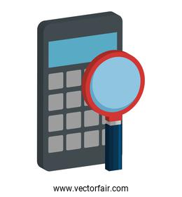 calculator math with magnifying glass