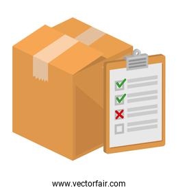 packing box carton with checklist