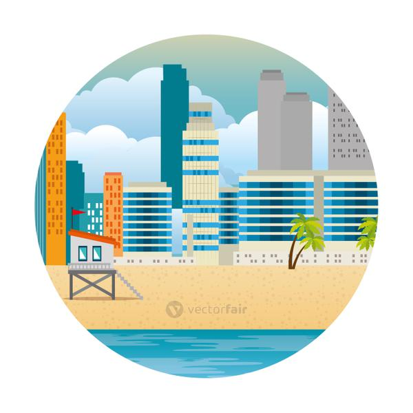 cityscape buildings with palms and lifeguard booth scene