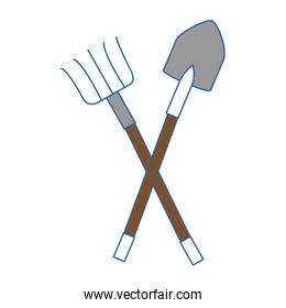 Rake and shovel gardening tools