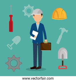 engineer with under construction icons