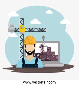worker under construction with laptop
