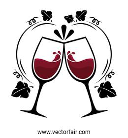 wine red cups silhouettes icon