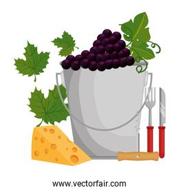 bucket with grapes cluster and cheese