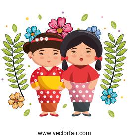 little japanese couple girls kawaii with flowers characters