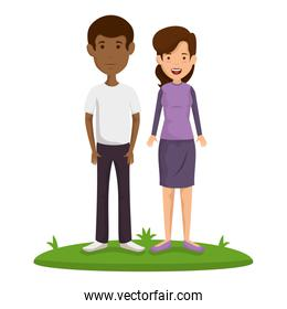 young couple in grass avatars characters