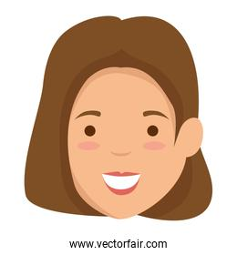 beautiful and young woman head character