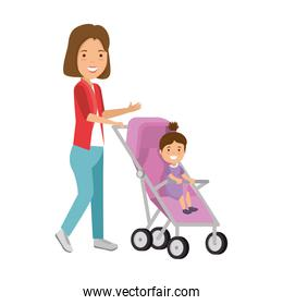 mother with little girl baby in cart