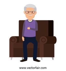 cute grandfather in the sofa avatar character