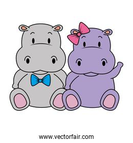 adorable hippo couple characters