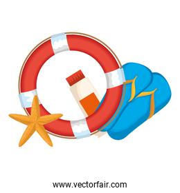 float lifeguard with starfish and sandals