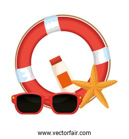 float lifeguard with sunglasses and starfish isolated icon