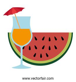 tropical cocktail with watermelon