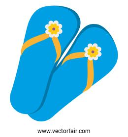 blue flip flops with flowers