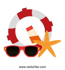 float lifeguard with sunglasses and starfish