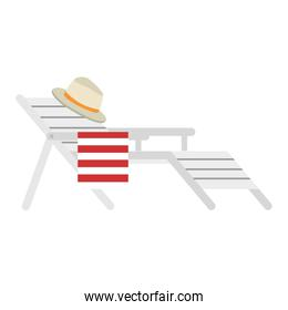 wooden beach chair with hat