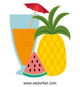 tropical cocktail with fruits