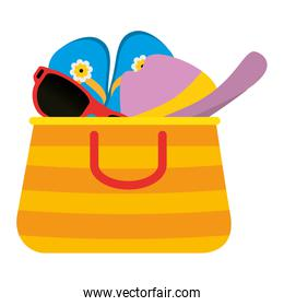 summer handbag with sandals and hat