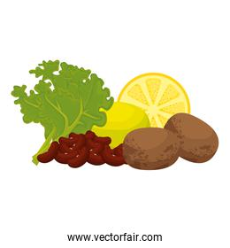 fresh lettuce with lemon and potatoes healthy food