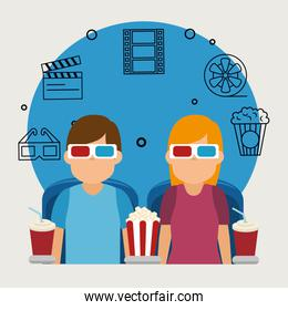 young people with glasses 3d and cinema icons