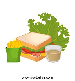 isolated sandwish with lettuce french fries