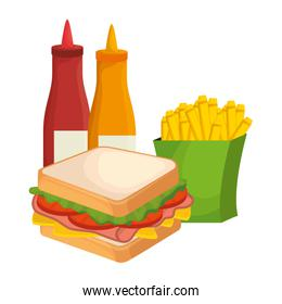 delicious sandwish with sauces and french fries over white