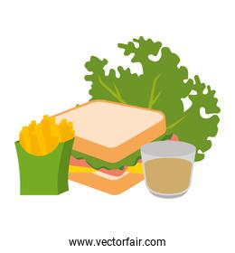 delicious sandwish with lettuce french fries