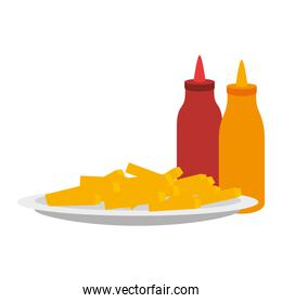 delicious french fries with sauces in dish