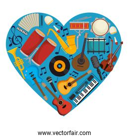 set instruments with heart shape pattern