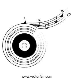 musical partiture notes with vinyl