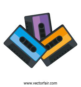 cassettes music isolated icons