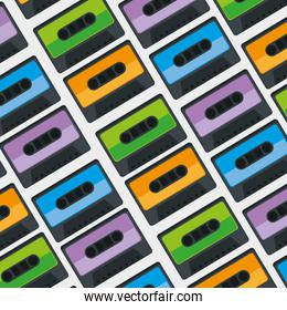 cassettes music pattern background