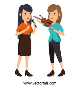 women singing with microphone and playing fiddle