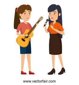 women singing with microphone and guitar