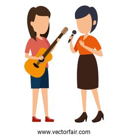 women singing with microphone and playing guitar