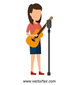 faceless woman singing with microphone and playing guitar