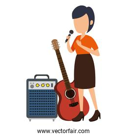 woman singing with microphone and instruments