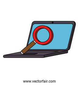 laptop computer with magnifying glass