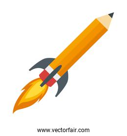 pencil rocket start up isolated icon