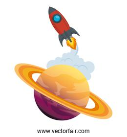 universe planet saturn with rocket flying