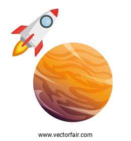 universe planet with rocket flying