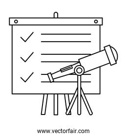 paperboard training with telescope