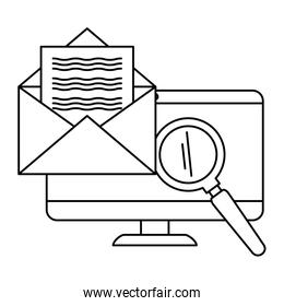 computer with envelope mail and magnifying glass