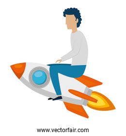 young man flying with rocket
