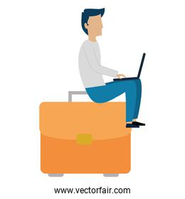 young man working with laptop in portfolio