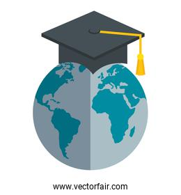 hat graduation with world planet earth