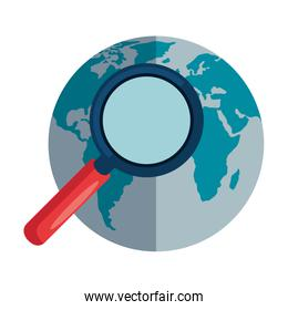 search magnifying glass with world planet