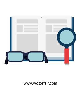 text book with magnifying glass and glasses