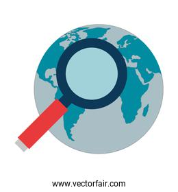 search magnifying glass with world globe
