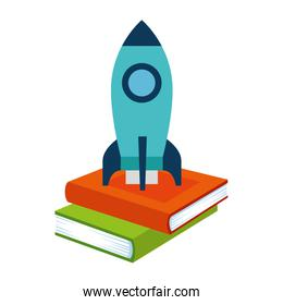 pile text books with rocket